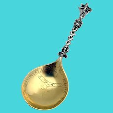 Norwegian Gilt Engraved Spoon Cast Cupid Handle 828 Silver 1850