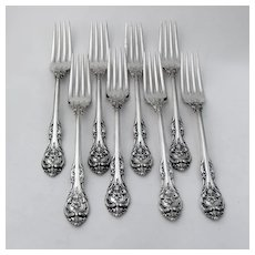 King Edward 8 Dinner Forks Set Gorham Sterling Silver 1936 No Mono