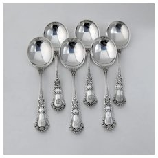 Baronial Old Gumbo Soup Spoons Set Gorham Sterling Silver 1898 Mono D