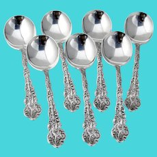 Versailles 7 Gumbo Soup Spoons Set Gorham Sterling Silver Mono MHB