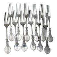 Alameda Ivy 12 Dinner Forks Set Koehler Ritter Sterling Silver Mono EJA