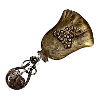 English Grapevine Repousse Tea Caddy Spoon Sterling Silver 1885