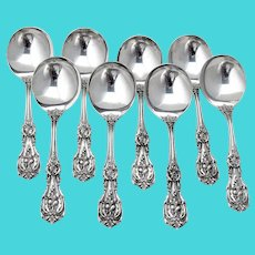 Francis I 8 Cream Soup Spoons Set Reed Barton Sterling Silver 1950