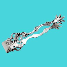 Norwegian Pierced Floral Sugar Tongs TH Marthinsen 830 Standard Silver