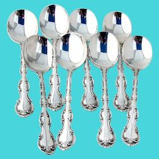 Strasbourg 8 Cream Soup Spoons Set Gorham Sterling Silver Pat 1897