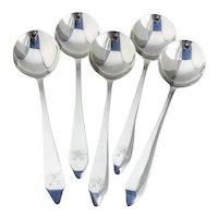 Tiffany Clinton Gumbo Soup Spoons Set Sterling Silver 1912 Mono HPC