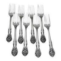 King Edward 8 Salad Forks Set Gorham Sterling Silver 1936