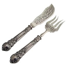 Gothic Style Fish Serving Set French 950 Sterling Silver 1890