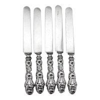 Lily Dinner Knives Set Whiting Sterling Silver 1902 Mono F