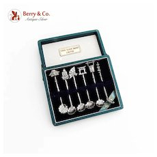 Japanese 6 Individual Salt Spoons Set 950 Sterling Silver Boxed