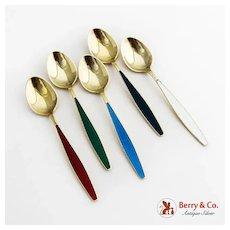 Georg Jensen Gilt Enamel Demitasse Spoons Set Sterling Silver