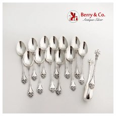 Empire 12 Demitasse Spoons Sugar Tongs Set Whiting Sterling 1894