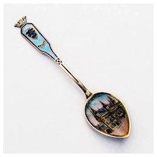 Belgian Enamel Souvenir Spoon Town Hall Bowl Sterling Silver
