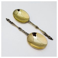 English Apostle Serving Spoons Pair Gilt Sterling Silver 1906 Boxed