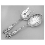 Lily Salad Serving Set Sterling Silver Watson 1902