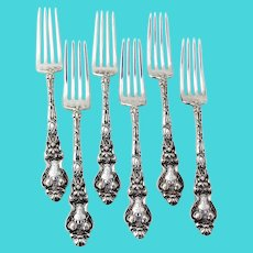 Douvaine Regular Forks Set Unger Bros Sterling Silver Mono
