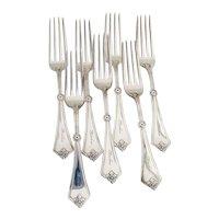 Rosette 7 Dinner Forks Set Gorham Sterling Silver Pat 1868