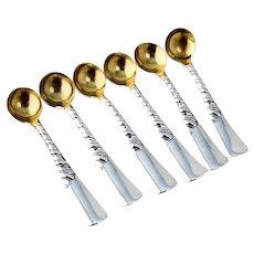 Gorham Colonial 6 Individual Salt Spoons Set Gilt Sterling Silver 1885