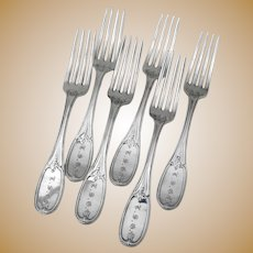 Mulford Wendell 6 Dinner Forks Set Coin Silver 1855 Mono