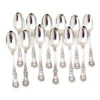 English King 12 Teaspoons Set Tiffany Sterling Silver 1885 Mono E