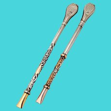 Bombilla Mate Tea Straws Pair Repousse Design 800 Silver 18K Gold Accents