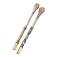 Bombilla Mate Tea Straws Pair 800 Silver 18K Gold Design Argentina