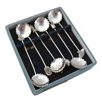 Japanese 6 Figural Coffee Spoons Set 950 Sterling Silver Boxed