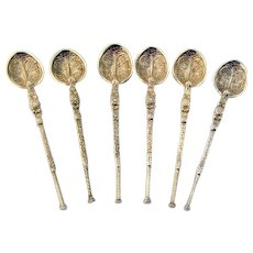 English 6 Anointing Spoons Set Emanuel Gilt Sterling Silver 1910