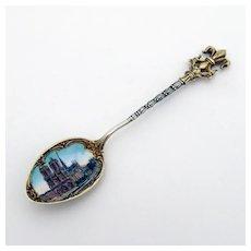 Souvenir Demitasse Spoon Enamel Cathedral Bowl 800 Silver Mono ICW 1900