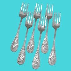 Audubon 6 Salad Forks Set Tiffany Sterling Silver 1956