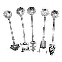Japanese 5 Individual Salt Spoons Set Figural Finials Sterling Silver