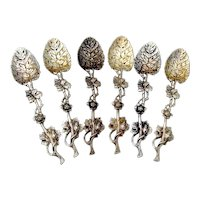 Oak Leaf Design Sterling Spoons Set John Aldwinckle James Slater London 1884