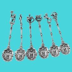 6 Coffee Spoons Set Medusa Bowls Figural Finials 800 Silver