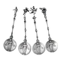 Figural Coffee Spoons Set Embossed Infant Bowls 800 Silver
