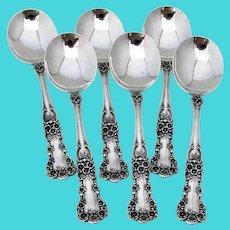 Buttercup Cream Soup Spoons Set Gorham Sterling Silver Mono C