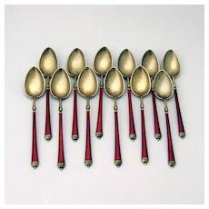 12 Teaspoons Set Red White Enamel Matte Gilt Sterling Silver