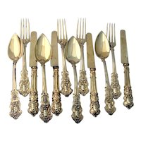 12 Piece Dessert Set Gilt 800 Silver French Export Mono TA