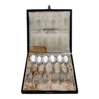Opphoiet Rose 6 Demitasse Spoons Set Marthinsen 830 Silver Mono G