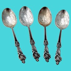 WWI Soldiers With Rifles 4 Souvenir Coffee Spoons Set Watson Sterling Silver