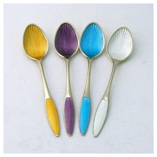 Enamel Demitasse Spoons Set Frigast Sterling Silver Denmark