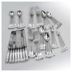 Tiffany Palm 56 Piece Flatware Set Sterling Silver Pat 1871 Mono EEL