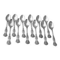 Tiffany English King 12 Demitasse Spoons Set Sterling Silver 1885 Mono PR