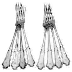 Buccellati Savoy 8 Dinner Forks Set Sterling Silver Italy