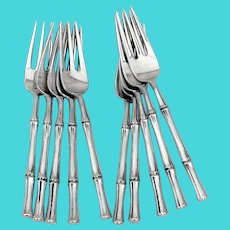 Tiffany Bamboo 10 Salad Forks Set Sterling Silver 1961