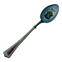 German Souvenir Coffee Spoon Heidelberg Bowl Enamel 800 Silver