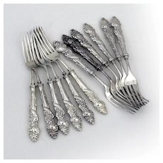 Columbia 12 Dinner Forks Set International Rogers Silverplate 1893 Mono