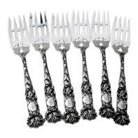 Bridal Rose 6 Salad Forks Set Alvin Sterling Silver 1903 Mono S