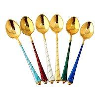 Danish 6 Enamel Demitasse Spoons Set Gilt Sterling Silver Ela