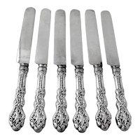 Versailles 6 Dinner Knives Set Gorham Sterling Silver 1888 Mono FKL