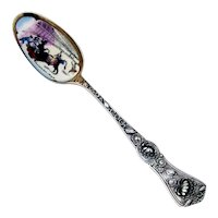 Tajuana Bull Fight Souvenir Spoon Enamel Bowl Sterling Silver